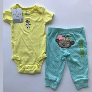 🐵 NEW Carters Baby Girls Size 3M Pajama Set 2pc